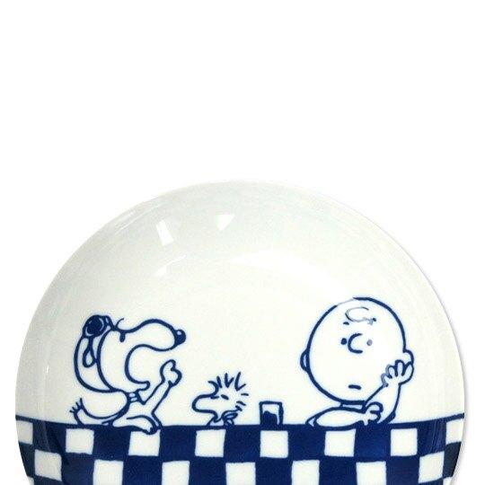 小禮堂 史努比 日製 陶瓷圓盤組 沙拉盤 陶瓷盤 菜盤 YAMAKA陶瓷 (3入 藍白 富士山)