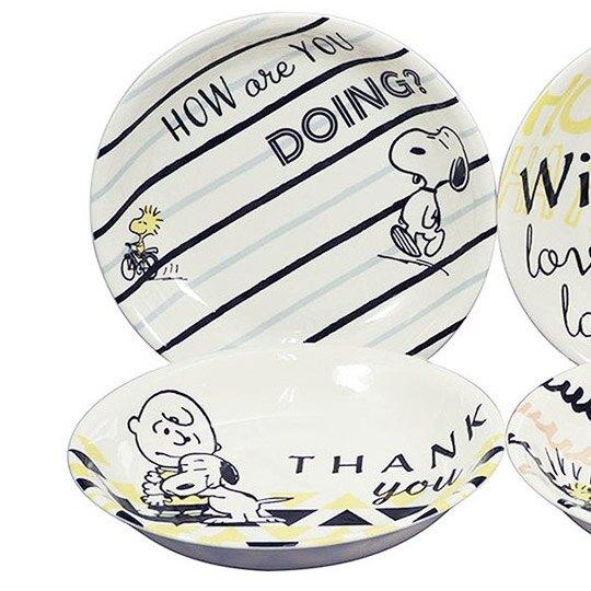 小禮堂 史努比 日製 陶瓷圓盤組 沙拉盤 陶瓷盤 菜盤 YAMAKA陶瓷 (4入 白 朋友)