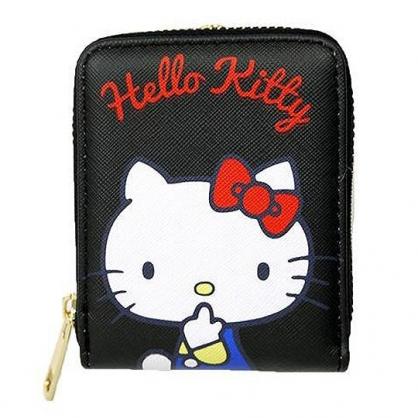 小禮堂 Hello Kitty 直式皮質票卡零錢包 卡片收納包 小物收納包 (黑 側坐)