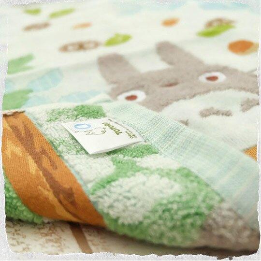 小禮堂 宮崎駿 龍貓 純棉無捻紗長毛巾 純棉毛巾 長巾  34x80cm (綠藍 坐樹枝)