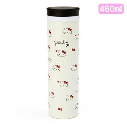 小禮堂 Hello Kitty 旋轉蓋不鏽鋼保溫瓶 兒童水壺 隨身水壺 460ml (米 滿版)