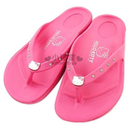 小禮堂 Hello Kitty 水鑽夾腳拖鞋《桃紅.成人尺寸》輕量無負擔
