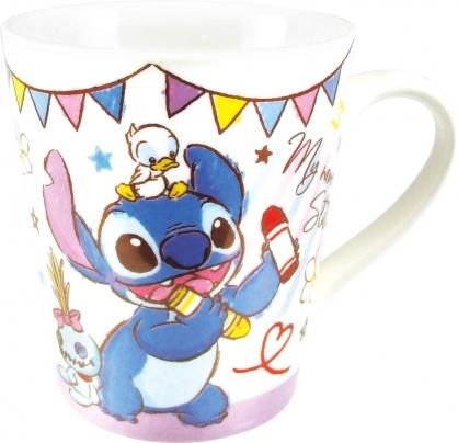 小禮堂 迪士尼 史迪奇 陶瓷馬克杯 咖啡杯 陶瓷杯 (白紫 蠟筆)