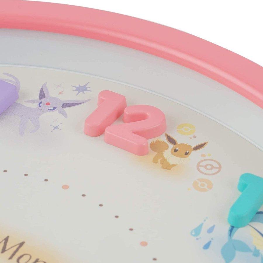 小禮堂 神奇寶貝 連續秒針圓形壁掛鐘 時鐘 壁鐘 (粉 立體數字)