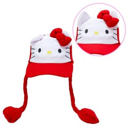 小禮堂 Hello Kitty 造型耳朵動動玩偶帽 兔耳帽 鴨舌帽 老帽 遮陽帽 (紅白 大臉)