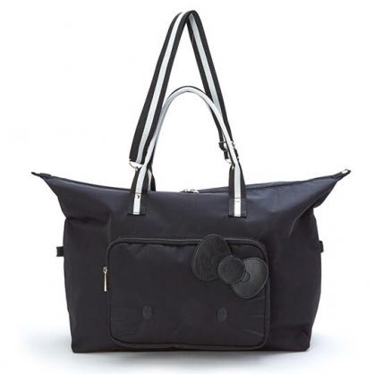 小禮堂 Hello Kitty 厚磅尼龍水餃包拉桿行李袋 手提旅行袋 側背行李袋 (黑 大臉)
