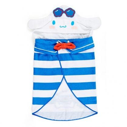小禮堂 大耳狗 造型純棉割絨連帽浴巾 純棉毛巾 沙灘巾 60x100cm  (藍白 活力海軍)
