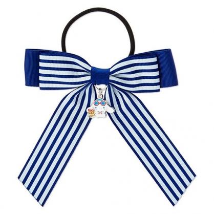 小禮堂 大耳狗 蝴蝶結造型緞帶彈力髮圈 造型髮束 髮飾 (藍白 活力海軍)