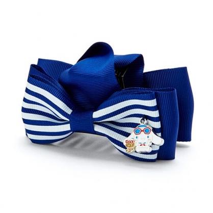 小禮堂 大耳狗 蝴蝶結造型緞帶鯊魚夾 塑膠髮夾 抓夾 (藍白 活力海軍)