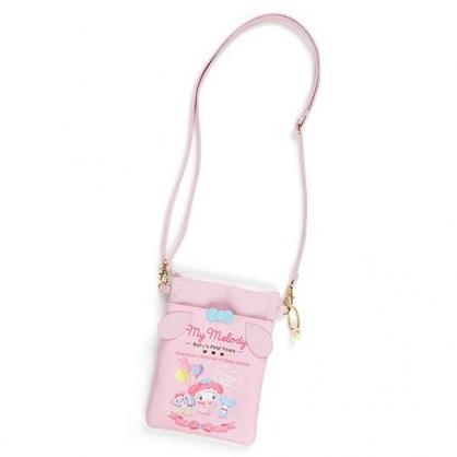 小禮堂 美樂蒂 直式皮質斜背手機包 皮質斜背包 隨身背包 (粉 寶寶回憶)