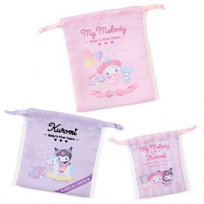 小禮堂 美樂蒂 酷洛米 棉質束口袋組 旅行收納袋 小物收納袋 (3入 粉紫 寶寶回憶)