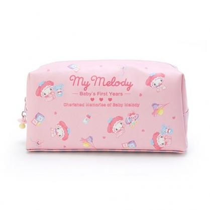 小禮堂 美樂蒂 皮質拉鍊筆袋 皮質化妝包 鉛筆袋 鉛筆盒 (粉 寶寶回憶)