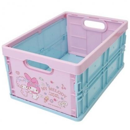 小禮堂 美樂蒂 塑膠折疊無蓋收納箱 CD收納盒 折疊收納盒 (M 粉白 朋友)