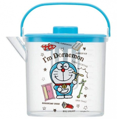 小禮堂 哆啦A夢 日製 手提透明冷水壺 耐熱水壺 飲料壺 1.2L (藍蓋)