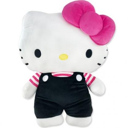 小禮堂 Hello Kitty 絨毛玩偶 絨毛娃娃 布偶 (XL 黑吊帶褲)