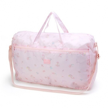 小禮堂 美樂蒂 折疊尼龍拉桿行李袋 手提旅行袋 側背行李袋 (粉 滿版)