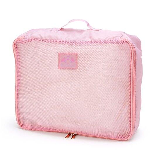 小禮堂 美樂蒂 方形尼龍衣物收納袋組 旅行盥洗包 收納網袋 (3入 粉 滿版)