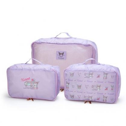 小禮堂 酷洛米 方形尼龍衣物收納袋組 旅行盥洗包 收納網袋 (3入 紫 滿版)