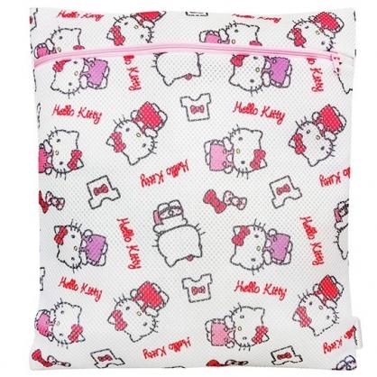 小禮堂 Hello Kitty 方型網狀洗衣袋 洗衣網袋 護洗袋 (粉白 滿版)