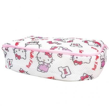小禮堂 Hello Kitty 大方型網狀洗衣袋 洗衣網袋 護洗袋 (粉白 滿版)