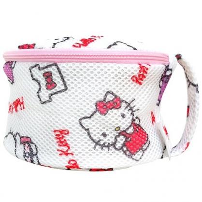 小禮堂 Hello Kitty 圓筒網狀洗衣袋 洗衣網袋 護洗袋 (粉白 滿版)