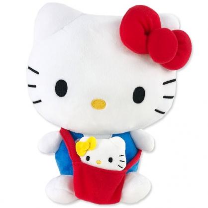 小禮堂 Hello Kitty 絨毛玩偶 絨毛娃娃 布偶 (M 藍紅 子母娃娃)