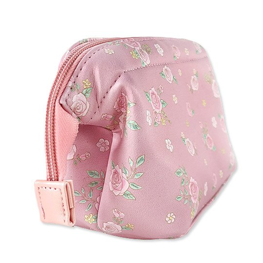 小禮堂 Hello Kitty 硬式支架皮質化妝包 小物收納包 隨身收納包 (粉 玫瑰)
