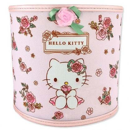 小禮堂 Hello Kitty 圓形尼龍垃圾筒 無蓋垃圾筒 桌上型垃圾筒 (粉 玫瑰)