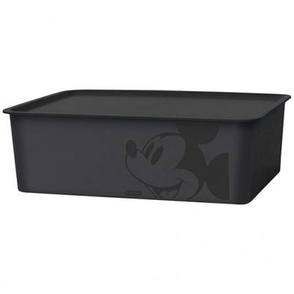 小禮堂 迪士尼 米奇 日製 方形塑膠拿蓋收納箱 玩具箱 衣物箱 9L (M 黑 大臉)