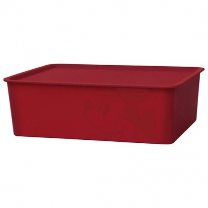 小禮堂 迪士尼 米奇 日製 方形塑膠拿蓋收納箱 玩具箱 衣物箱 9L (M 紅 大臉)