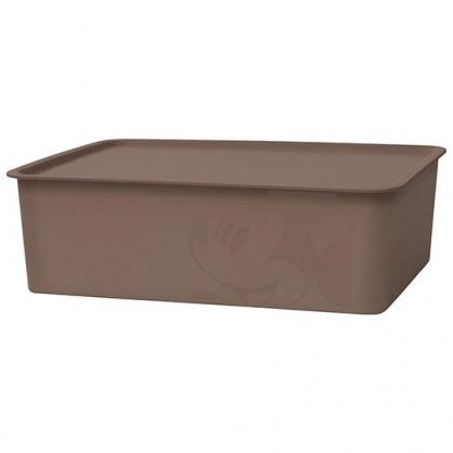 小禮堂 迪士尼 米奇 日製 方形塑膠拿蓋收納箱 玩具箱 衣物箱 9L (M 棕 大臉)