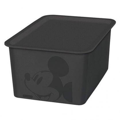 小禮堂 迪士尼 米奇 日製 方形塑膠拿蓋收納箱 玩具箱 衣物箱 4L (S 黑 大臉)