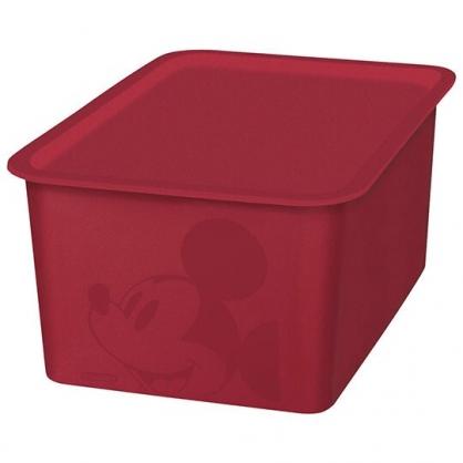 小禮堂 迪士尼 米奇 日製 方形塑膠拿蓋收納箱 玩具箱 衣物箱 4L (S 紅 大臉)