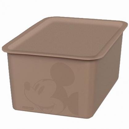 小禮堂 迪士尼 米奇 日製 方形塑膠拿蓋收納箱 玩具箱 衣物箱 4L (S 棕 大臉)