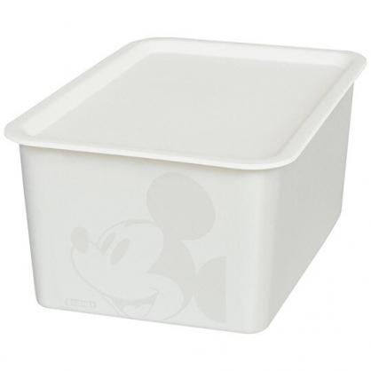 小禮堂 迪士尼 米奇 日製 方形塑膠拿蓋收納箱 玩具箱 衣物箱 4L (S 白 大臉)