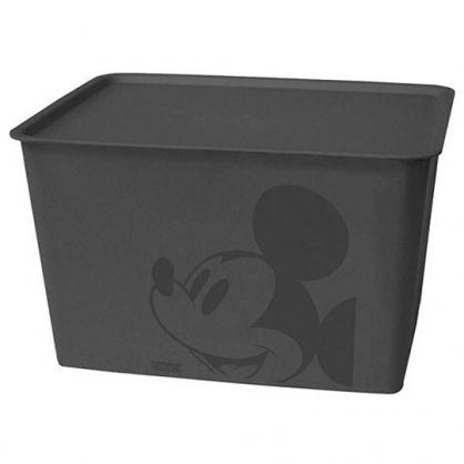 小禮堂 迪士尼 米奇 日製 方形塑膠拿蓋收納箱 玩具箱 衣物箱 17L (L 黑 大臉)