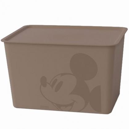 小禮堂 迪士尼 米奇 日製 方形塑膠拿蓋收納箱 玩具箱 衣物箱 17L (L 棕 大臉)