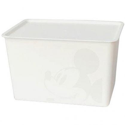 小禮堂 迪士尼 米奇 日製 方形塑膠拿蓋收納箱 玩具箱 衣物箱 17L (L 白 大臉)