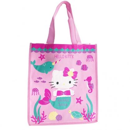 小禮堂 Hello Kitty 直式方形不織布購物袋 環保購物袋 手提袋 (粉綠 美人魚)