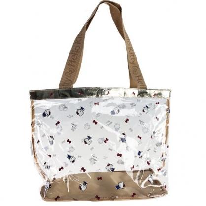 小禮堂 Hello Kitty 透明海灘袋 透明側背袋 防水提袋 泳具袋 (棕金 滿版)