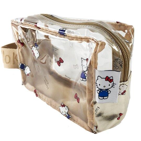 小禮堂 Hello Kitty 透明單側手提化妝包 防水化妝包 隨身收納包 (棕金 滿版)