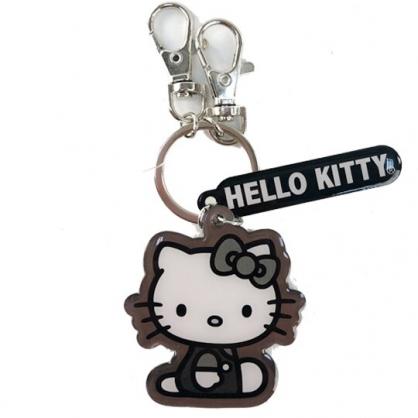 小禮堂 Hello Kitty 造型金屬鑰匙圈 金屬吊飾 掛飾 (黑灰 側坐)