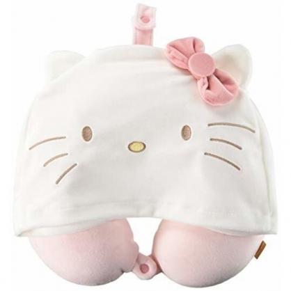 小禮堂 Hello Kitty 連帽式絨毛U型頸枕 護頸枕 旅行枕 午睡枕 (粉白 大臉)
