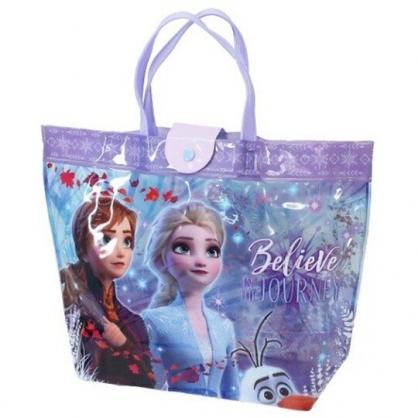 小禮堂 迪士尼 冰雪奇緣 透明海灘袋 水桶袋 防水提袋 泳具袋 (藍紫 楓葉)