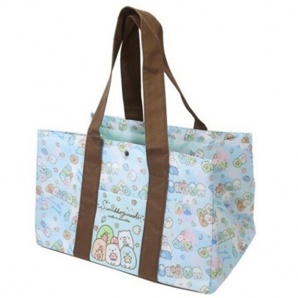 小禮堂 角落生物 橫式尼龍束口保冷側背袋 環保購物袋 野餐袋 (藍棕 海底)