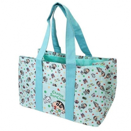 小禮堂 蠟筆小新 橫式尼龍束口保冷側背袋 環保購物袋 野餐袋 (綠 睡衣)