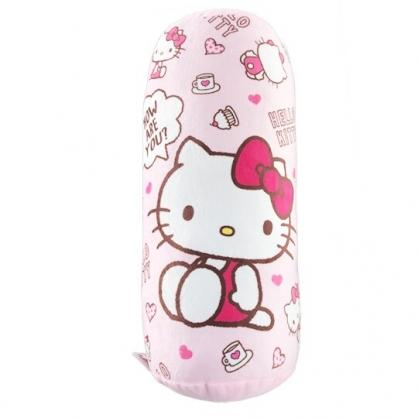 小禮堂 Hello Kitty 圓筒型絨毛抱枕 絨毛靠枕 午睡枕 (粉 滿版)