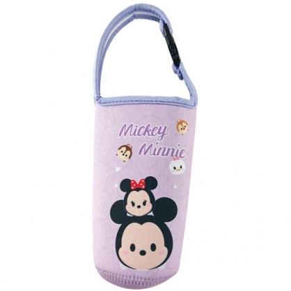 小禮堂 迪士尼TsumTsum 米奇米妮 潛水布水壺袋 環保杯袋 飲料杯袋 (紫 大臉)