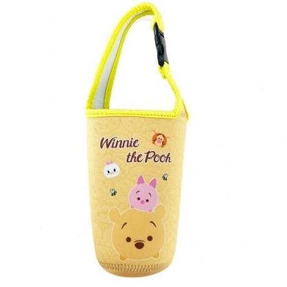 小禮堂 迪士尼TsumTsum 小熊維尼 潛水布水壺袋 環保杯袋 飲料杯袋 (黃 大臉)