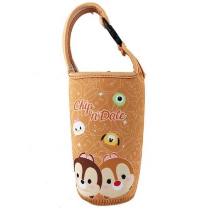 小禮堂 迪士尼TsumTsum 奇奇蒂蒂 潛水布水壺袋 環保杯袋 飲料杯袋 (棕 大臉)